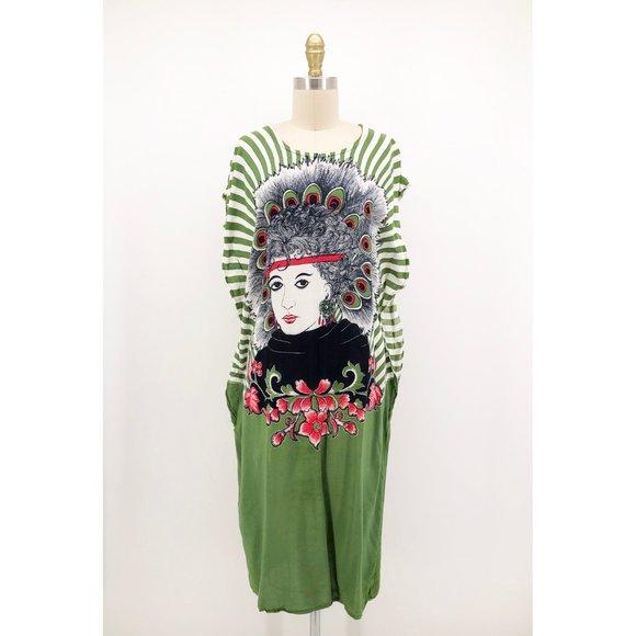 Vintage Dresses & Skirts - Vintage Suzanna Kaftan Dress Coverup Girl Print